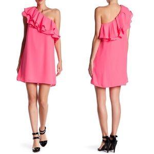 DO+BE Pink One-Shoulder Ruffle Mini Dress